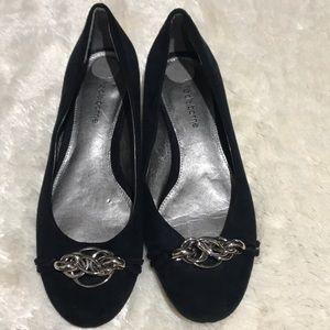 """Liz Claiborne Black Suede Shoes Silver Links """"6.5"""""""